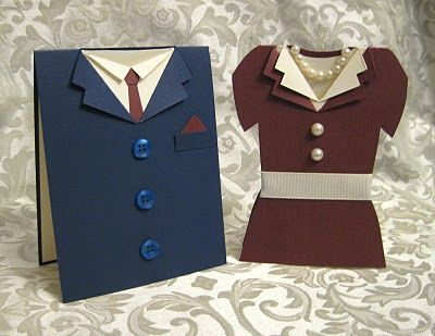 Suit & Dress Card Set - love the buttons & pearl necklace.  I would change the drab dress color though.