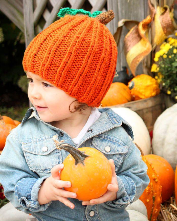 Toddler Pumpkin hat knitting pattern