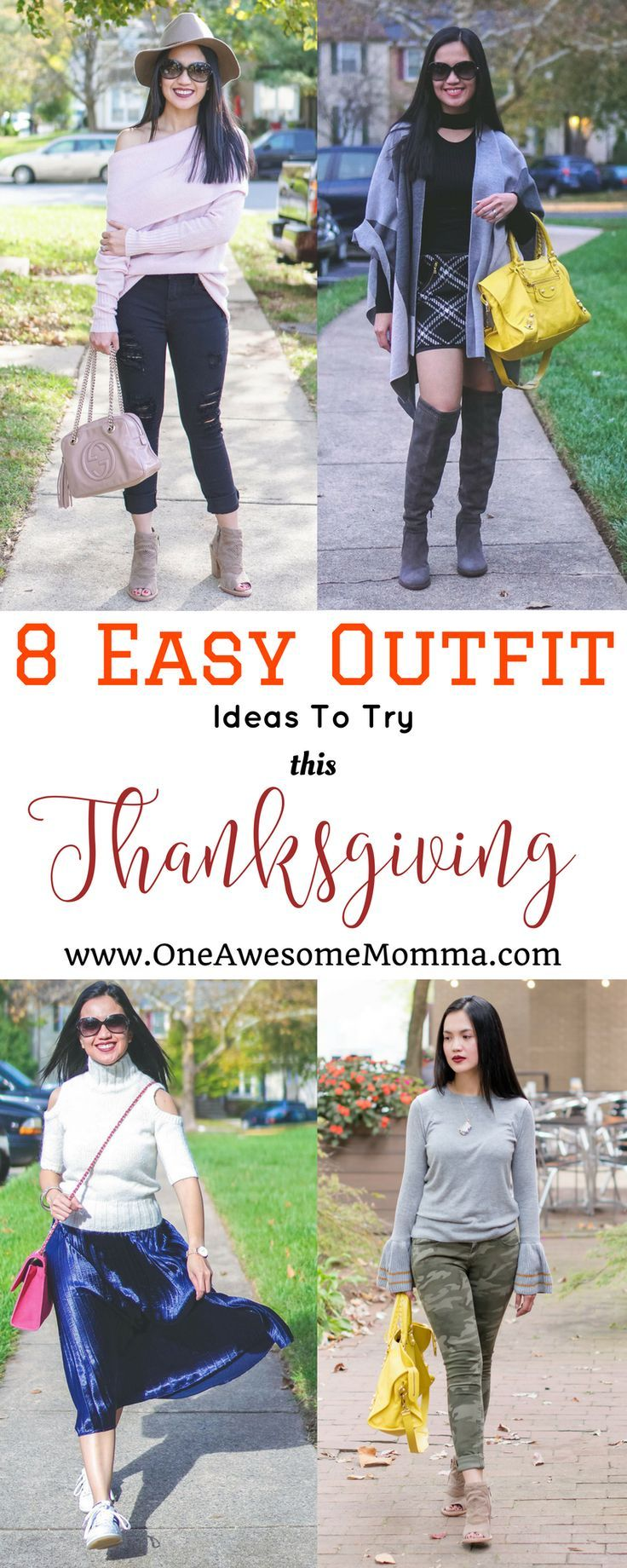 Looking for easy Thanksgiving outfit ideas? Check out this roundup of easy and cute Thanksgiving outfit ideas featuring over the knee boots, leather leggings, fur vests, cold shoulder sweater, distressed jeans, bell sleeves, camo pants, pleated skirt, poncho, and floppy hats. #thanksgivingoutfits thanksgivingoutfitideas #momstyle #momfashion #fallstyle #fallfashion | thanksgiving outfit | thanksgiving outfits for women | thanksgiving style | thanksgiving fashion