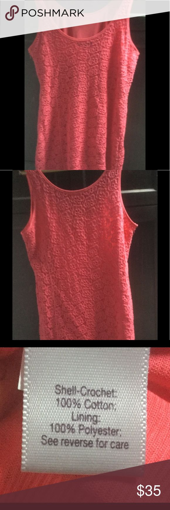 "Coral lace dress Cute fully lined coral lace dress, NWOT never worn. Measures 36"" from shoulder seam to hem. Armpit to armpit measures 19"" . Hits just at the knee. Jennifer Lopez Dresses Midi"