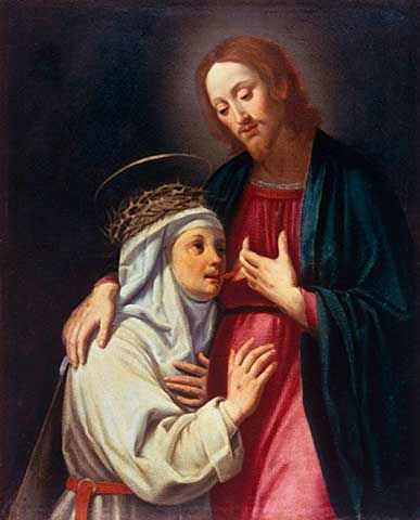 Santi di Tito - Saint Catherine of Siena drinks the blood of Christ - Fine Arts Reproduction