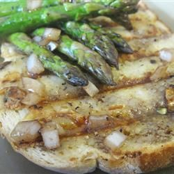 Grilled Asparagus with Roasted Garlic Toast and Balsamic Vinaigrette Allrecipes.com