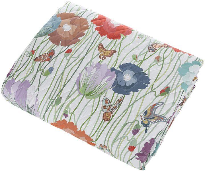 Violante Bedspread - 100 - 260x270cm #butterflies#green#poppies