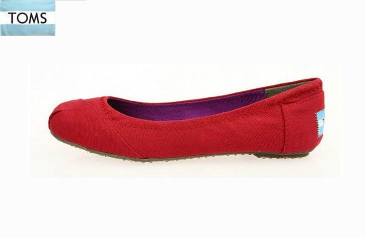 Toms Ballet Flats Red Canvas