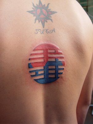 south korean flag tattoo, so Cool!!! A smaller version of this would be cool to get if I live there like I plan too.