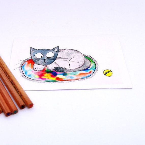 Happy birthday CARD funny CAT greeting card - Birthday Card From Cat - Happy birthday art card - Card From Pet - Cat Lover Art Card