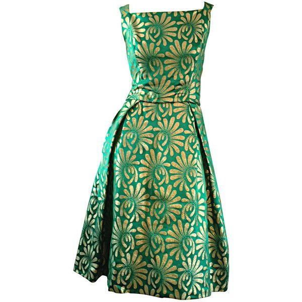1950s 50s Vintage Blauner For Bonwit Teller Green + Gold ' New Look '... (€925) ❤ liked on Polyvore featuring dresses, cocktail dresses, evening dresses, vintage gold dress, green dress, yellow gold dress, silk cocktail dress and zipper dress