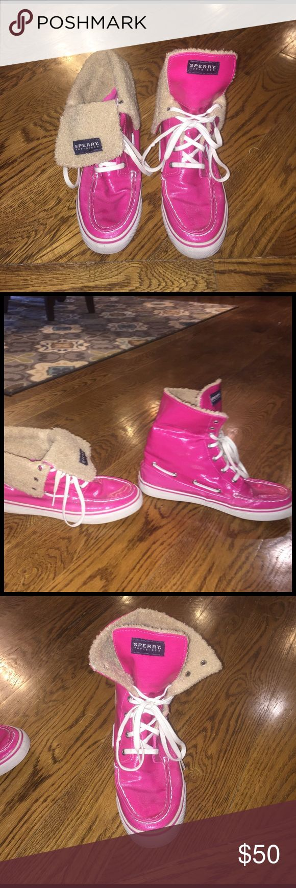 Pink Sperry Top-Sider high tops Pink Sperry high tops with fur covering the inside. Cute both with the pink all showing or bending the sides down to show the fur. Really comfortable. The pink is kind of a leathery feel to it. Sperry Top-Sider Shoes Combat & Moto Boots