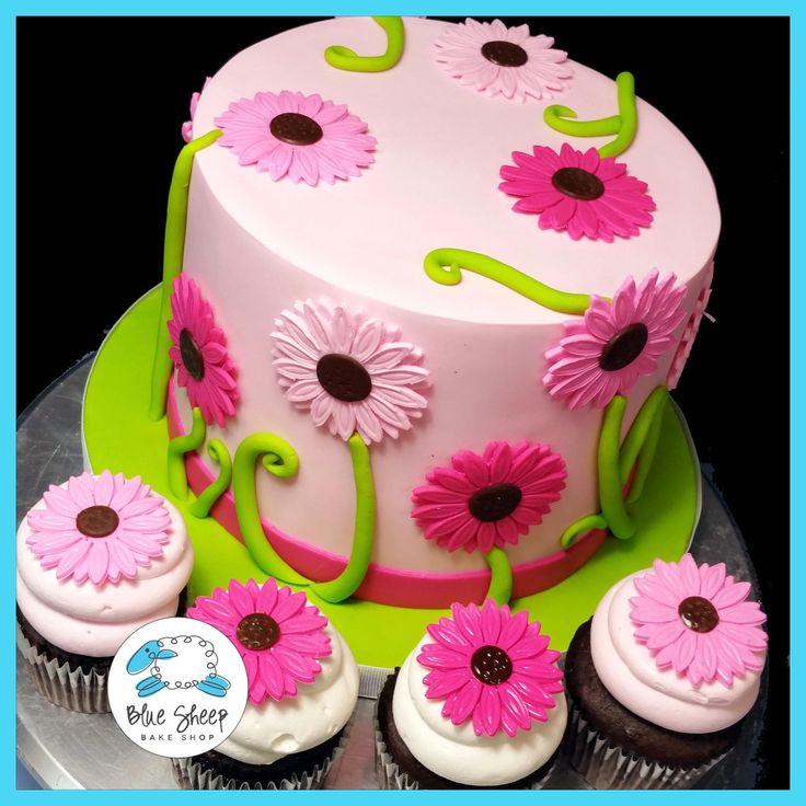 Gerbera Daisy Birthday Cake and Cupcakes   Blue Sheep Bake Shop