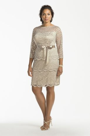 Ultra-feminine and chic, this all over floral lace tiered dress is perfect for any special occasion!  3/4 sleeve bodice features a sheer, illusion lace scoop neckline and a keyhole back for added allure.  Tired floral lace adds drama and texture to this simple and classic silhouette.  Waist accented with a dainty satin self-tie sash.  Knee-length skirts features scalloped lace hemline.  Designed by Marina.  Fully lined. Imported polyester. Back zipper.  Hand wash in cold water. Lay flat to