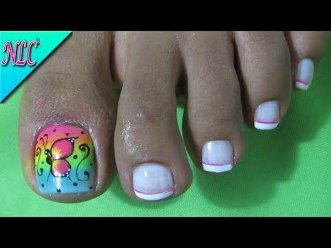 Decoracion De Unas Mariposa Y Rosas Para Pies Butterfly Nail Art
