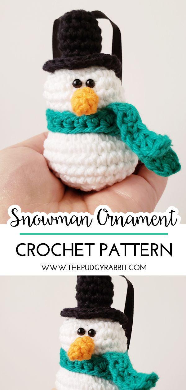 Dec 19 Snowman Ornament Crochet Pattern