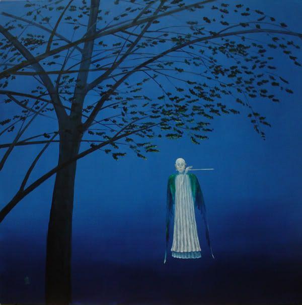 blue - man- flute - tree - painting - Artodyssey: Stefan Caltia