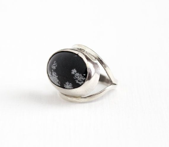 Sale - Vintage Sterling Silver Snowflake Obsidian Ring - 1970s Retro Size 4 Oval Black & White Gem Cabochon Modernist Statement 70s Jewelry by Maejean Vintage on Etsy