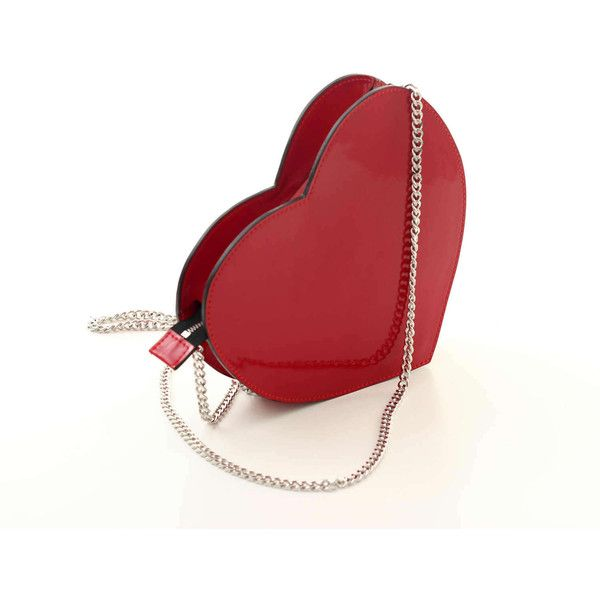 Red patent leather heart crossbody bag, leather shoulder bag, small... ($72) ❤ liked on Polyvore featuring bags, handbags, shoulder bags, purses crossbody, leather totes, leather crossbody purse, patent leather tote bag and chain-strap handbags