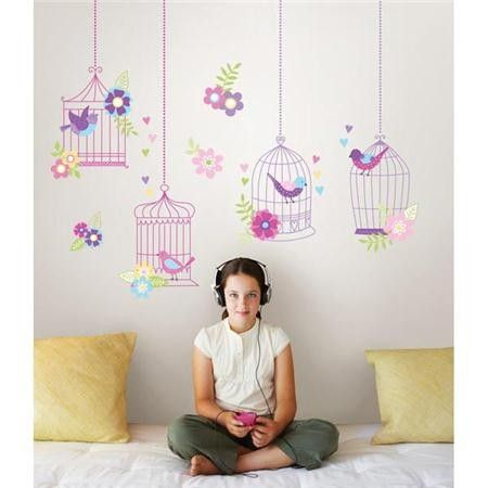 WallPops muurstickers vogelkooitjes paars roze meisjeskamer http://www.funky-friday.com/wanddecoratie/muurstickers/wallpops/wallpops-muurstickers-chirping-the-day-away.html