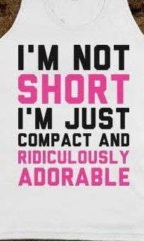 I'm not short but I get called short by my hunny a lot. He's just a tad (tiny tiny tad) taller than me. I need to memorize these quirky remarks to use as comebacks!
