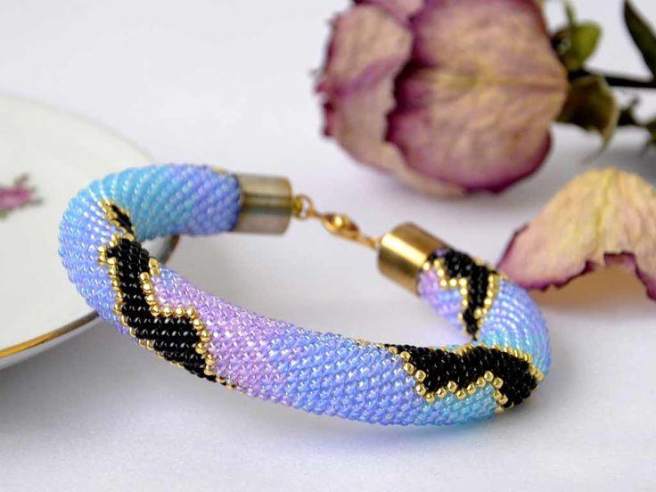 Beaded Crocheted Bracelet Purple Black Gold Pink Blue Summer Beaded Bracelet Seed Bead Bracelet Gift - pinned by pin4etsy.com