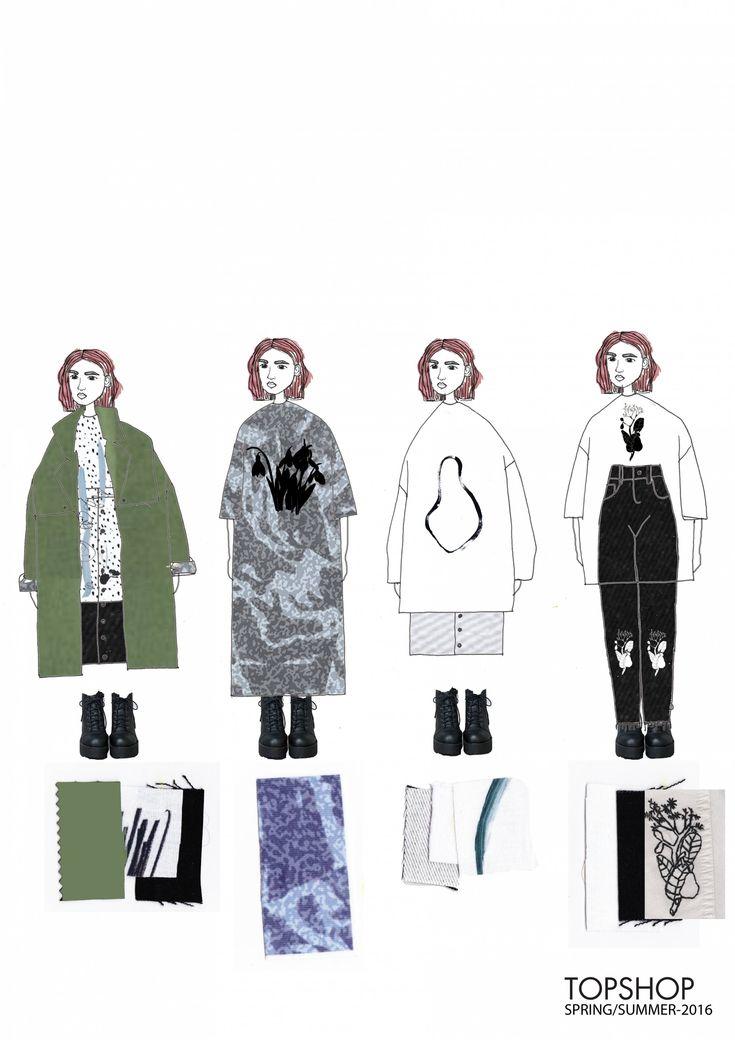 Fashion Sketchbook - fashion illustrations & fabrics; line up; fashion portfolio // Laura Rose Samson