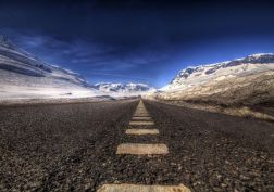landscape mountain road asphalt snow hdr wallpaper