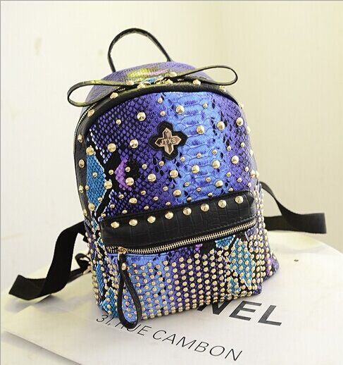 Find More Backpacks Information about New 2014 Fashion Japan and Korean Style Women schoolbag Rivet Serpentine Print bag PU leather Shoulder bags Totes Backpack,High Quality backpack messenger,China backpack zipper Suppliers, Cheap bag zip from Fortune international (HK) on Aliexpress.com