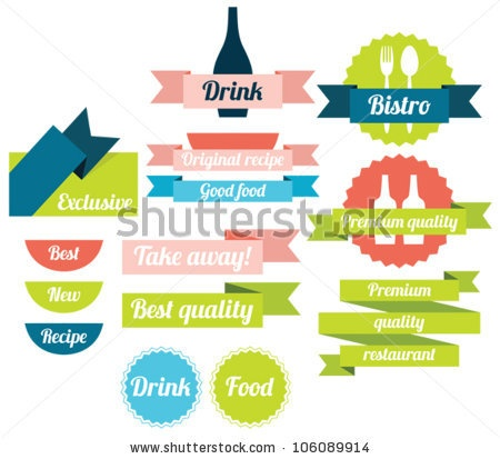 stock vector : Set of food badges, labels and icons