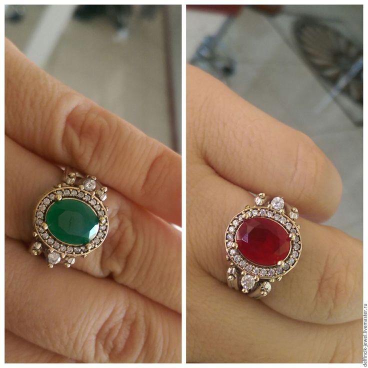 Купить Двойное кольцо-перевертыш с кварцами - комбинированный, двойное кольцо, двустороннее кольцо, кольцо из серебра