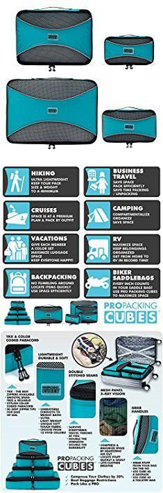 Backpacking Carry On. PRO Packing Cubes - 4 Pc Lightweight Travel Packing Cube Set - Organizers and Compression Pouches System for Carry-on Luggage Accessories, Suitcase and Backpacking. Small, Medium & Large (Aqua Blue).  #backpacking #carry #on #backpackingcarry #carryon