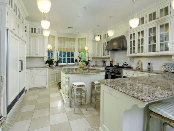 ... White Kitchen Cabinets With Granite Countertops