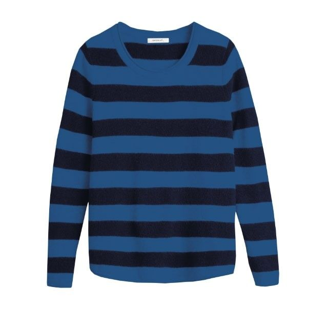 Sandwich Clothing Fluffy Striped Jumper Blue