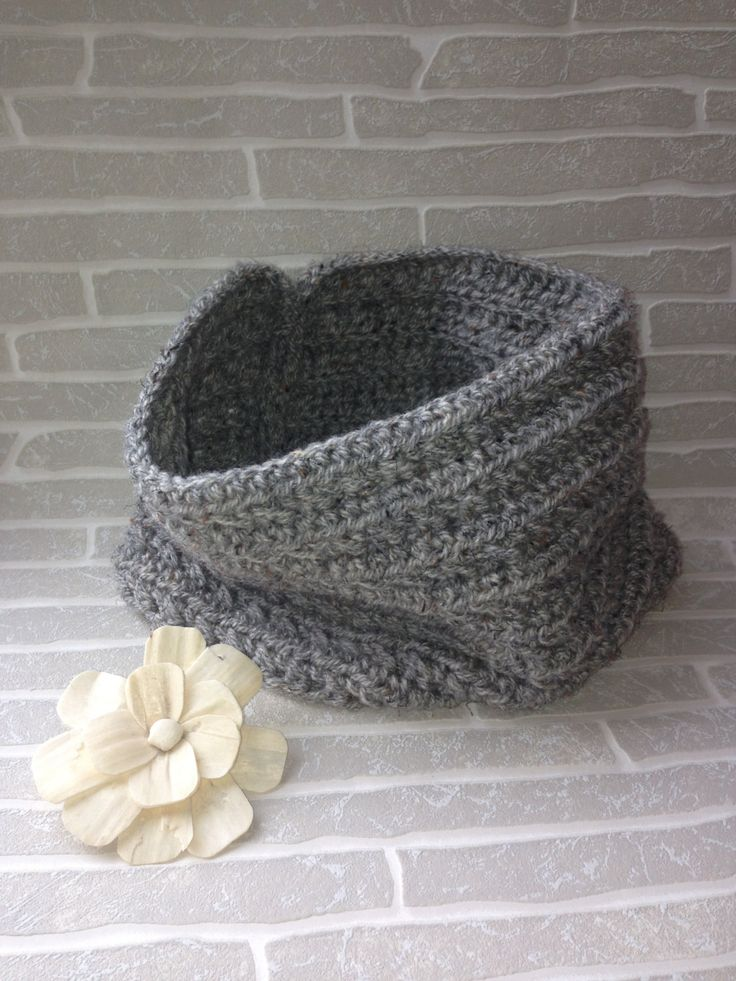A personal favourite from my Etsy shop https://www.etsy.com/uk/listing/267121341/crochet-cowl-grey-fleck-crochet-scarf