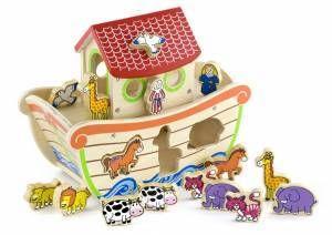 Great shape sorter in the shape of Noah's Ark.