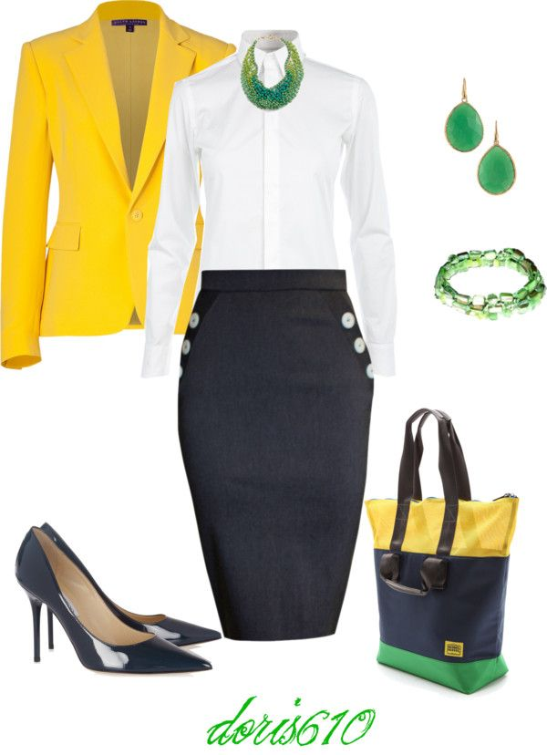 """Classic"" by doris610 on Polyvore, without the right yellow jacket, I just don't do that much yellow"