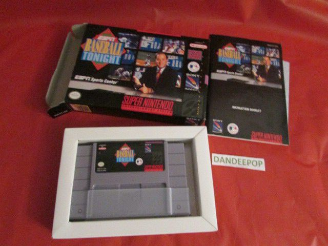 ESPN Baseball Tonight Vintage Super Nintendo Video Game w/box & Inserts 1991 find me at dandeepop.com