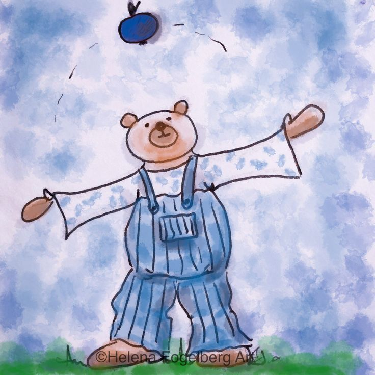 It's fun to juggle with a blue apple!