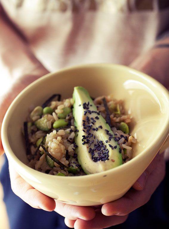 Lazy Sushi Bowl - sweet brown rice, shelled edamame, cucumber, avocado ...