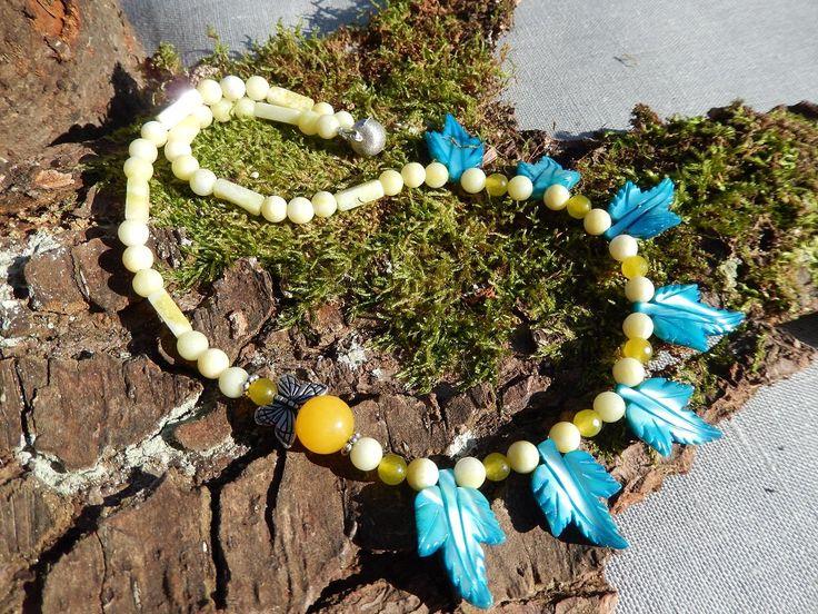Halsschmuck Halskette Collier gelb blau Sommer Schmetterling Indiana Style von DeinCharme auf Etsy