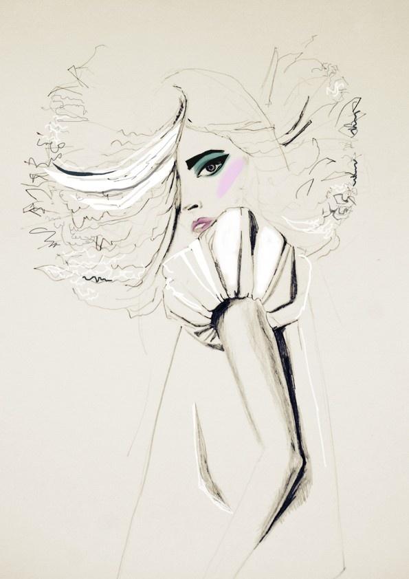Fashion illustration Print Pale Cream makeup big hair