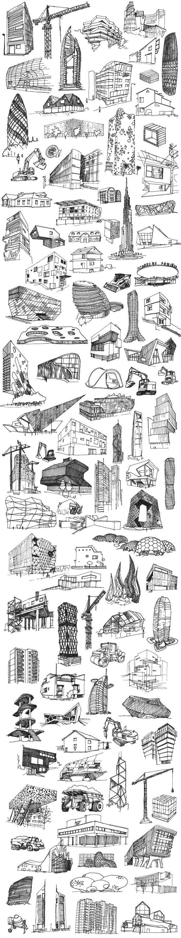 Poster commisioned by Fundacja Bęc Zmiana regarding present/future architectural problems and theories. Over 100 drawings of contemporary, futuristic, modern and casual, unfinished buildings, construction machines and cranes formed a typology of today's c…