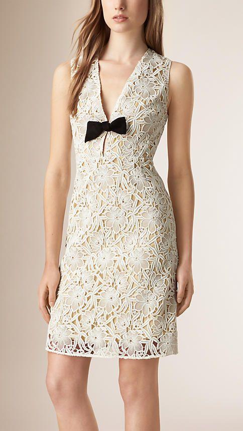 Branco Vestido solto em renda macramê de algodão - Imagem 1