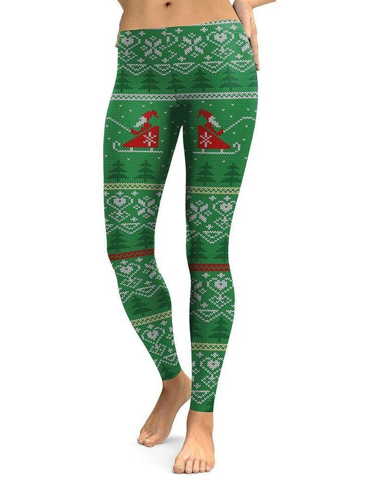2c7e6971e2 Green Knitted Reindeer With Christmas Tree Print Leggings