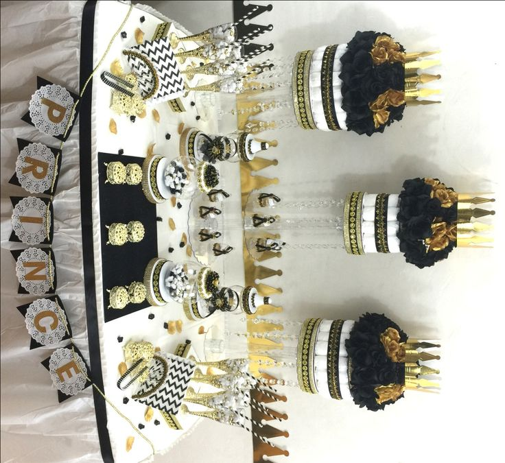 Superb BLACK And GOLD Baby Shower Candy Buffet Centerpiece With Baby Shower Favors  / Boys Black And