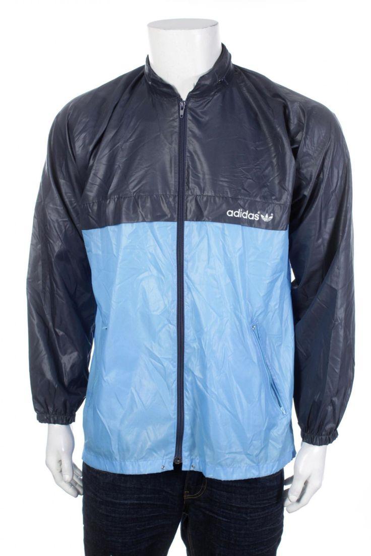 Rare Vintage 80s Adidas Trefoil Shiny Nylon Winbreaker jacket Color Block Navy Blue/ Light Blue Hip Hop Rap Style  Size M by VapeoVintage on Etsy