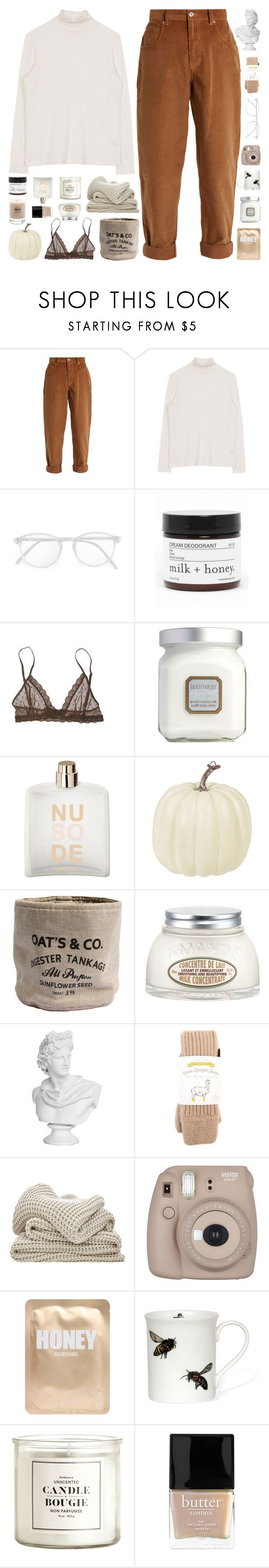 """OLD NEWS TO YOU THEN"" by cappvccino ❤ liked on Polyvore featuring Miu Miu, RetroSuperFuture, Milk + Honey, Eberjey, Laura Mercier, COSTUME NATIONAL, H&M, L'Occitane, Samantha Holmes and Fujifilm"