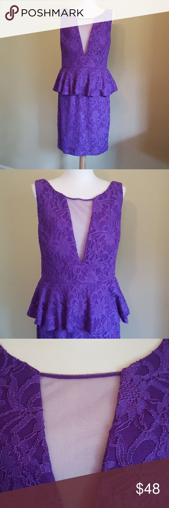 HAILEY by ADRIANNA PAPELL purple lace peplum dress Reposh- purchased for a Prince Purple Rain party and wore something else, so I've never worn it. So cute! This is a true royal purple color. Lace with mesh inset at cleavage and a peplum waist. Hits above knee. Hailey by Adrianna Papell is her lowerzpriced line, which I was not aware of. I would classify this as being that lower-line quality as well (think Eliza J level). Great for weddings, parties, high school proms, homecomings, or Prince…