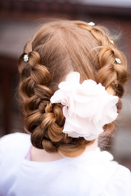 First Holly Communion hair styling crown of reversed braids