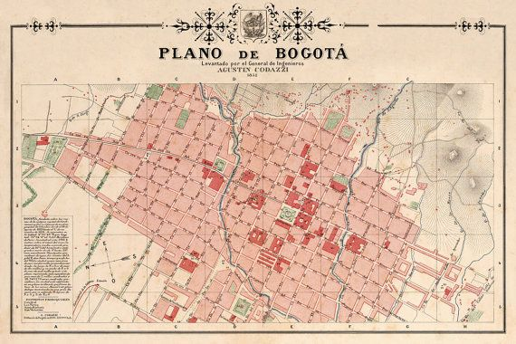 The map of Bogota 1852 (Colombia) - print.  -----------  The image for this print was digitally enhanced for best appearance. A lot of scratches