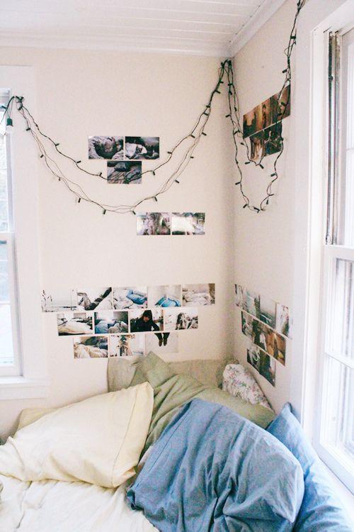 Simple Teen Girl's Bedroom Corner with Twinkle Lights & Photos
