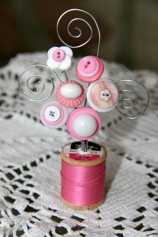 Vintage Button Spool Bouquet with placecard photo holder