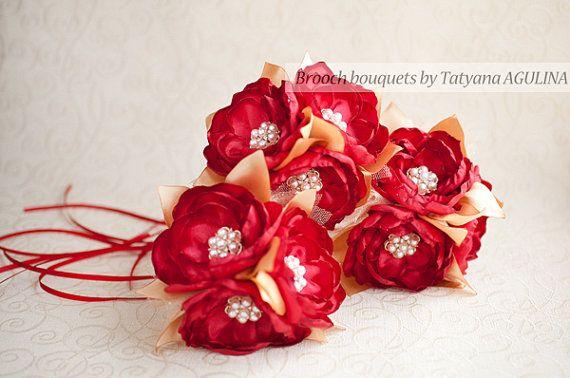 Brautjungfern Brosche Blumenstrauß. Rot und Gold Brosche Bouquet